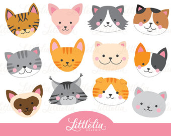 KITTENS clipart kitty 80% face SALE OFF head