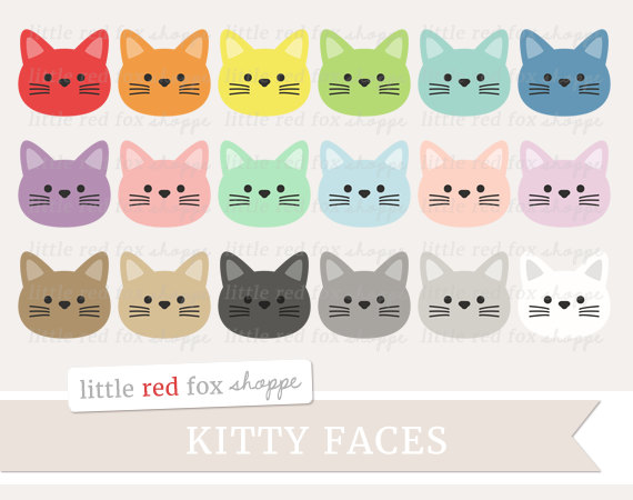 KITTENS clipart kitty face Face Animal Design Face Domestic