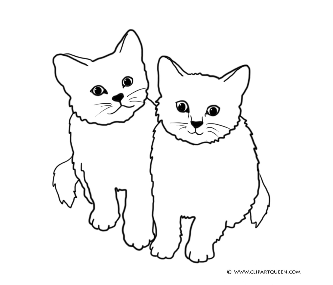 Cat clipart little cat Two little Cat with Coloring