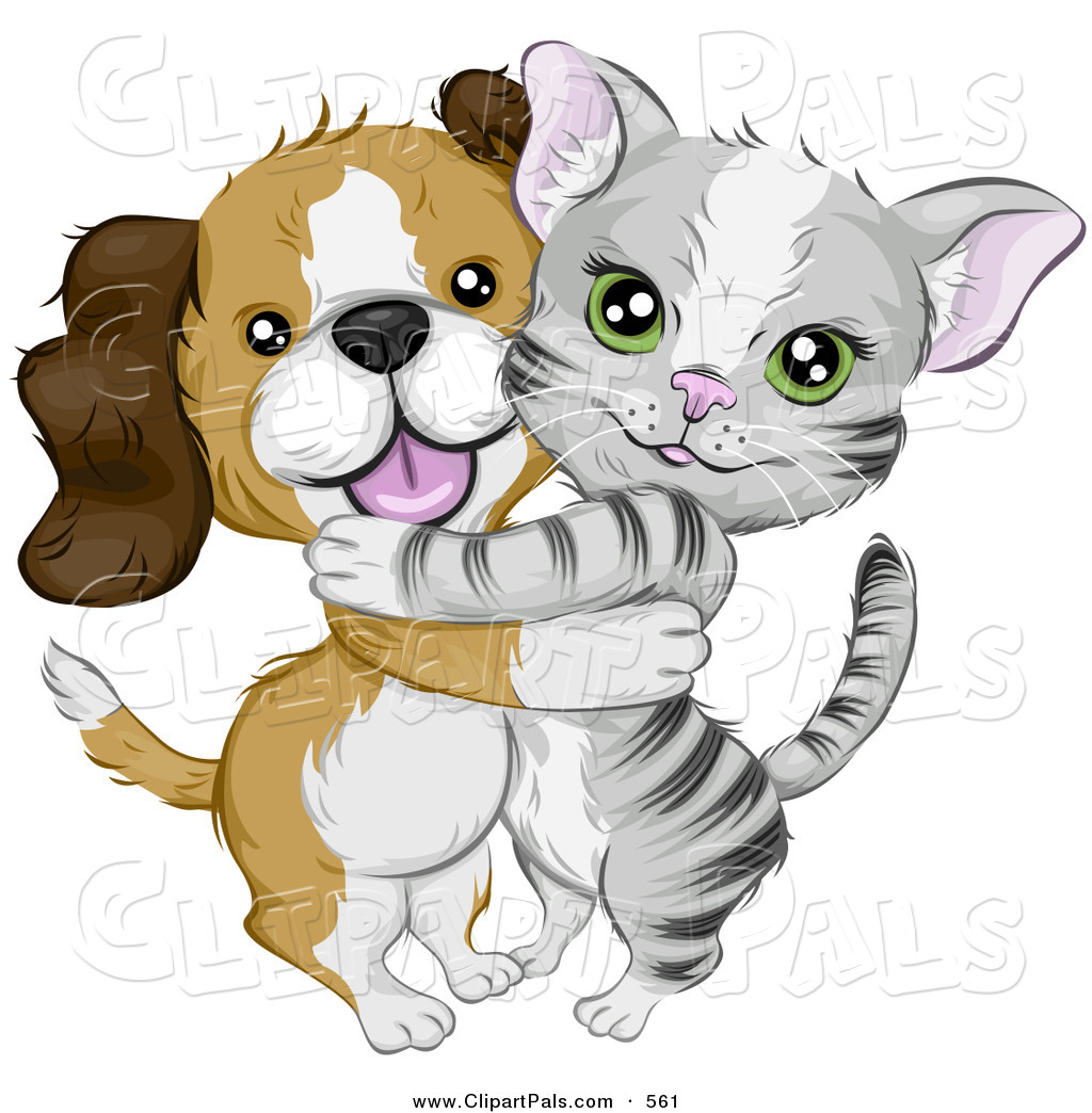 Sketch clipart puppy kitten Art Gray Puppy & Hugging
