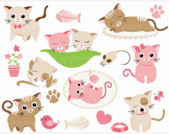KITTENS clipart little cat Kitty Clipart Download) png Pink