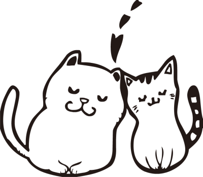 White clipart cat face Black and Two Kittens white