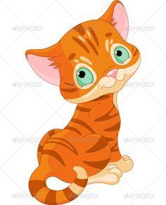 KITTENS clipart orange cat Cartoon Walking Kitten Back Clipart