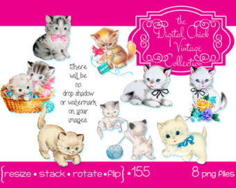 KITTENS clipart pet animal Flowers Digital sewing kittens kitty