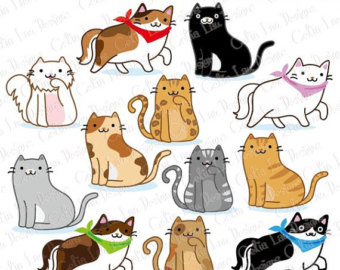 KITTENS clipart pet animal Art Cat Animal (A019 art