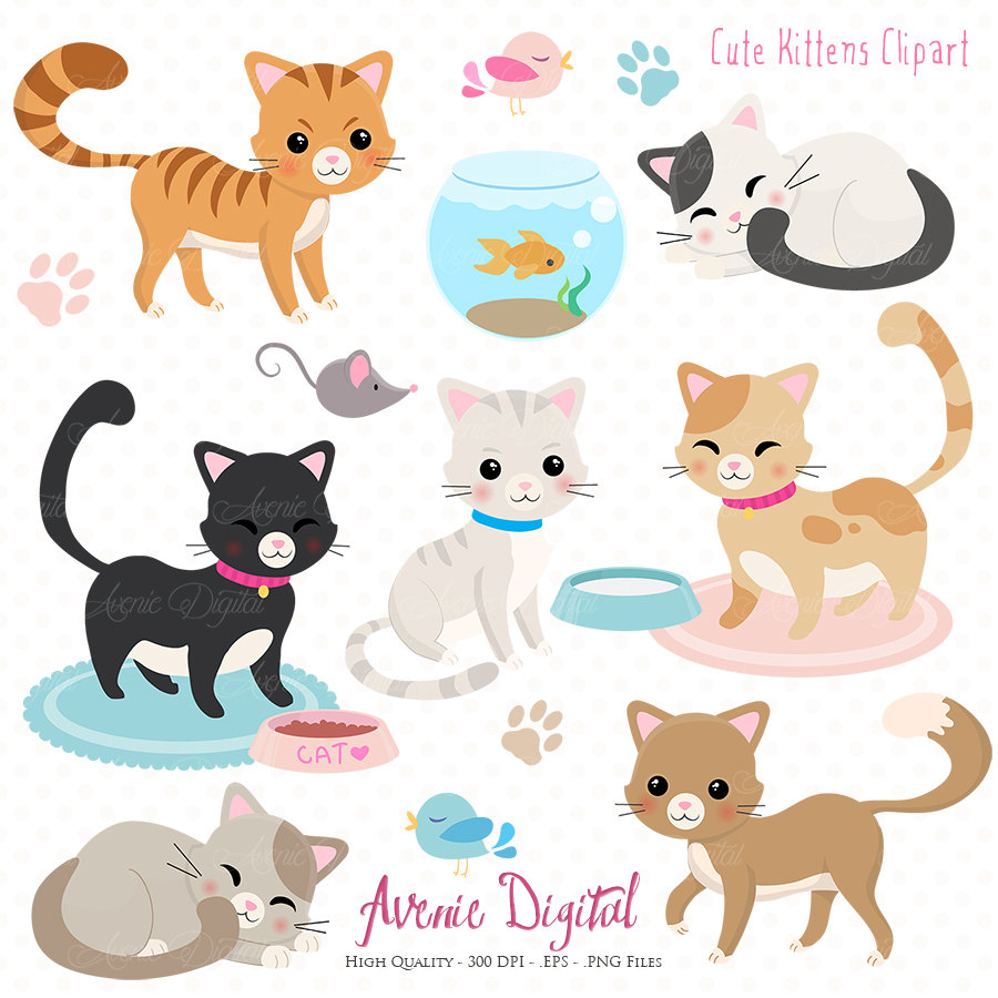 KITTENS clipart pet animal Cute Cute art clip and