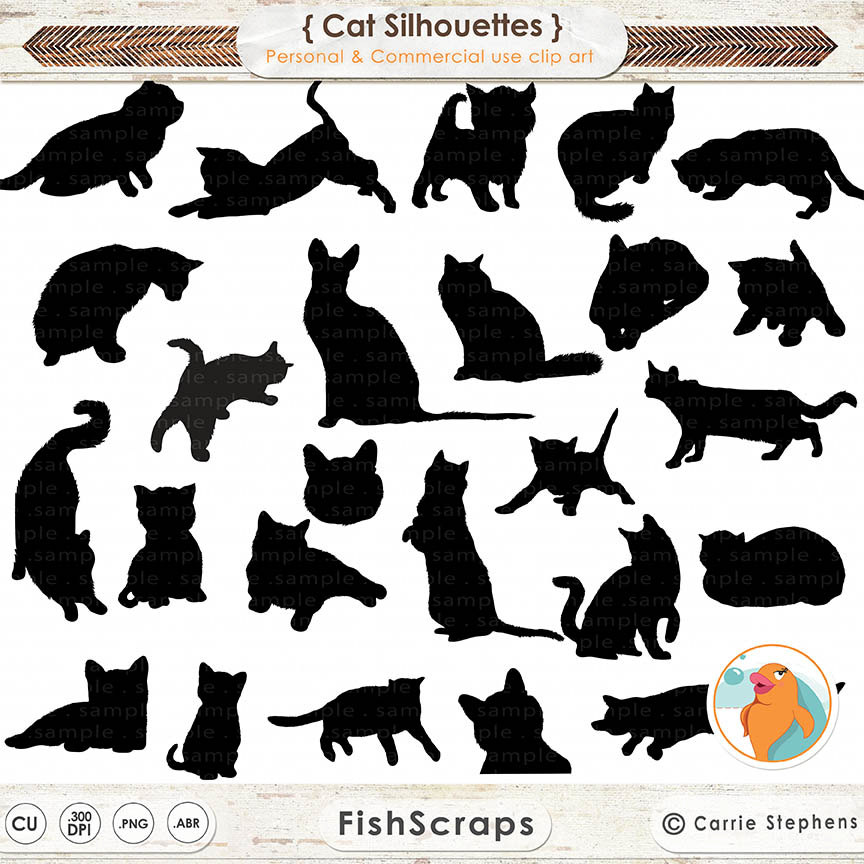 KITTENS clipart pet animal Like Kitty Stamps Silhouettes Cat