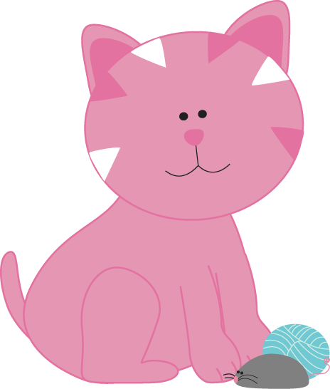 KITTENS clipart pink cat With Yarn and Mouse Cat
