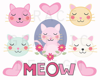 KITTENS clipart pink cat Commercial Use Graphics Kitten Drawn