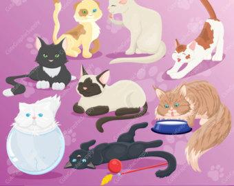 KITTENS clipart pink cat Cute cats SALE cat clipart