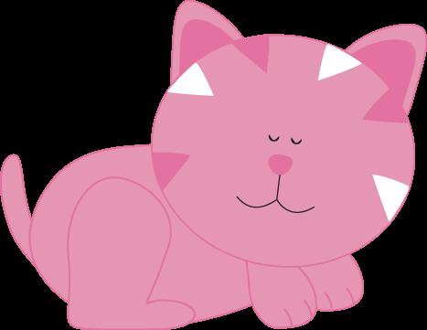 KITTENS clipart pink cat Sleeping Cat Art Clip Pink
