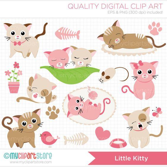 KITTENS clipart pink cat Pink Kitty / / Digital
