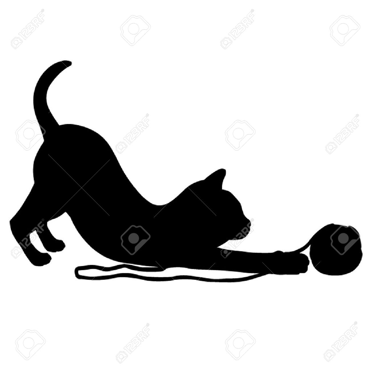 KITTENS clipart silhouette  of a with playing