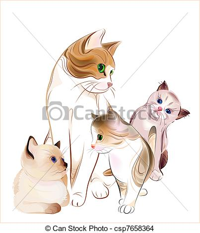 KITTENS clipart simple cat Csp7658364 of happy and Cat