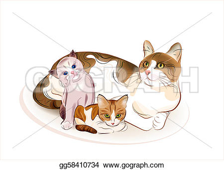 KITTENS clipart simple cat Gg58410734 and two Stock Vector