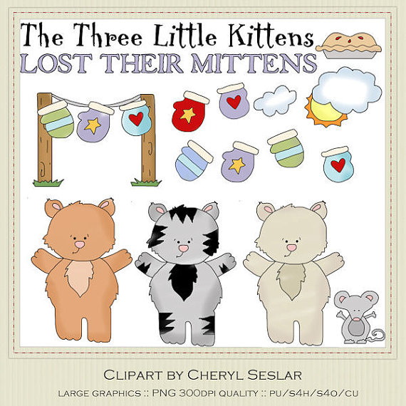 KITTENS clipart three little kitten Free little three Little Cat
