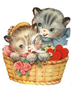 KITTENS clipart valentine Basket with Clipart Two Flowers