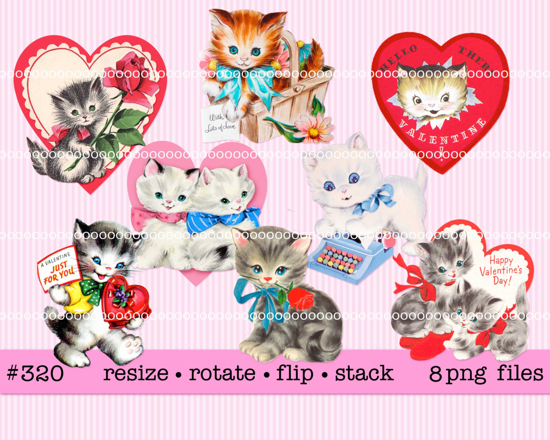 KITTENS clipart valentine Art Printable hearts Digital 320