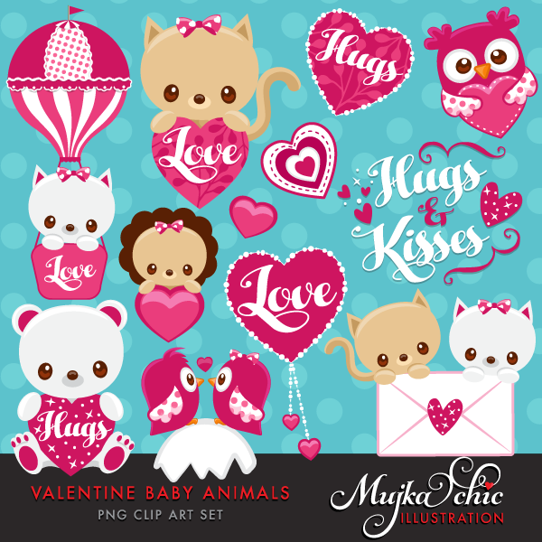 KITTENS clipart valentine's day Cute Clipart  Valentine's Baby