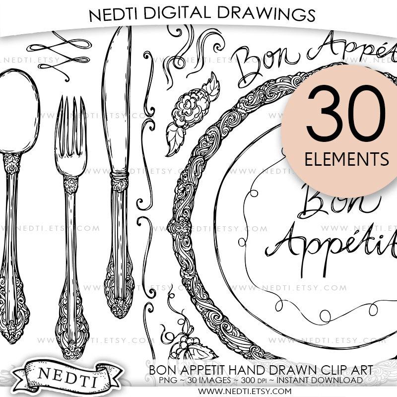 Knife clipart drawn Utensils Bon Appetit digital file
