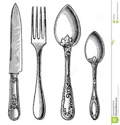Knife clipart drawn  clipart Free Spoon vintage