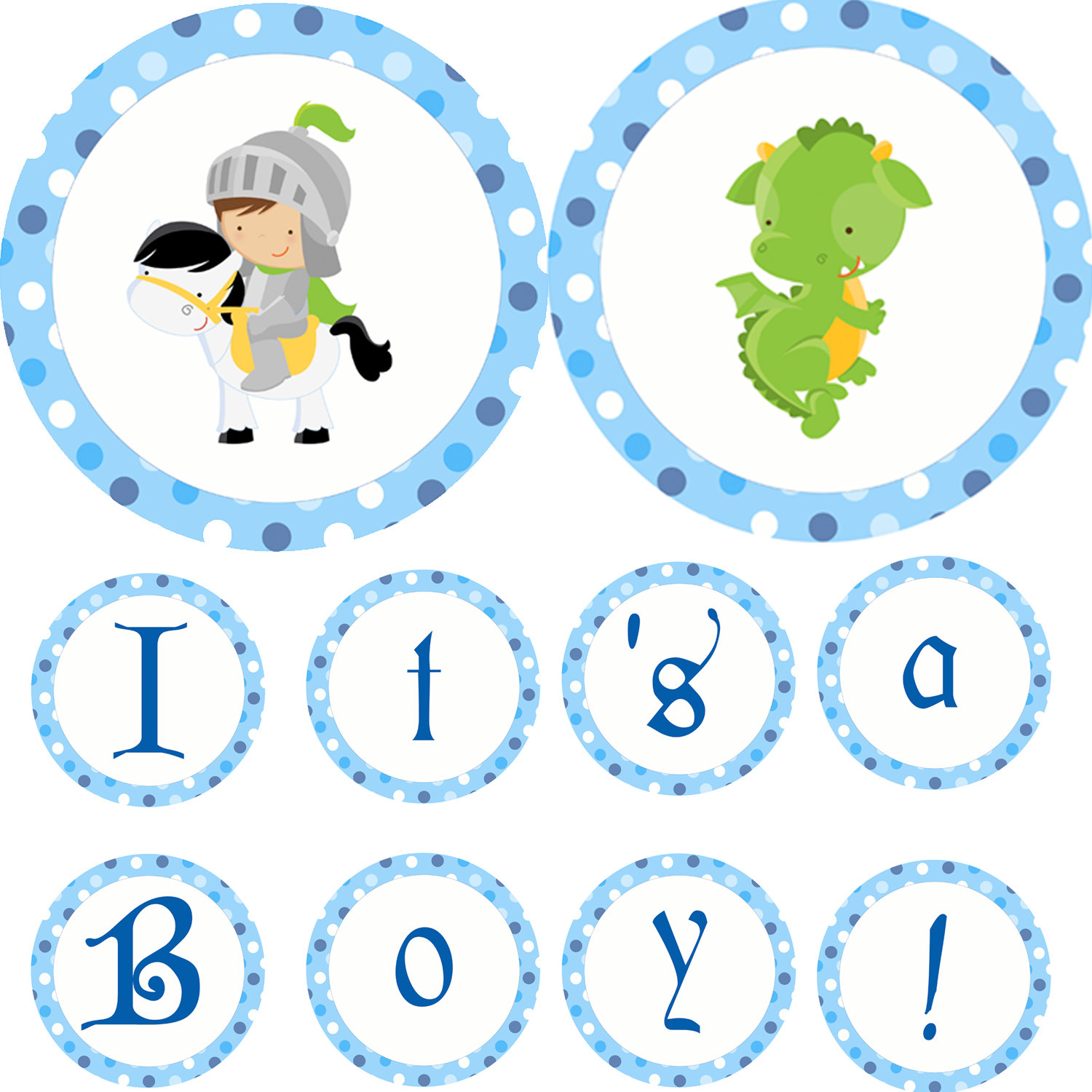 Knight clipart baby Dots Blue Banner Dragon Boy