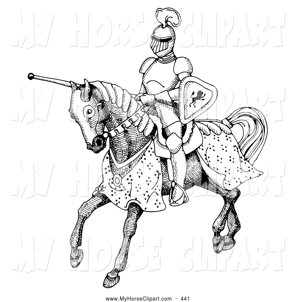 Knight clipart black and white Jousting Knight Jousting Download Clipart