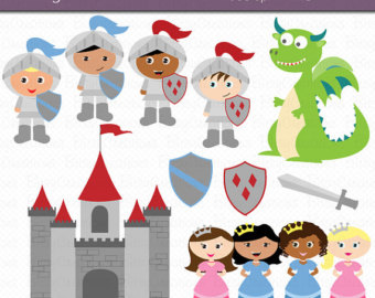 Medieval clipart medieval maiden Download Knights knights Art Etsy