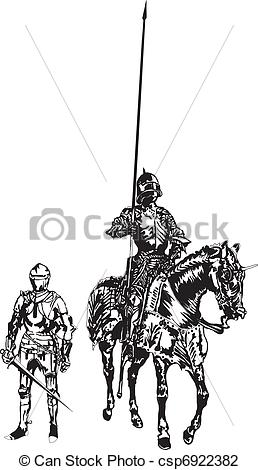 Knight clipart midieval Csp6922382 Mounted of Illustration Search