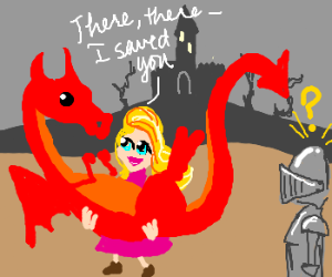 Knight clipart saves princess Dragon tower in shocked Princess