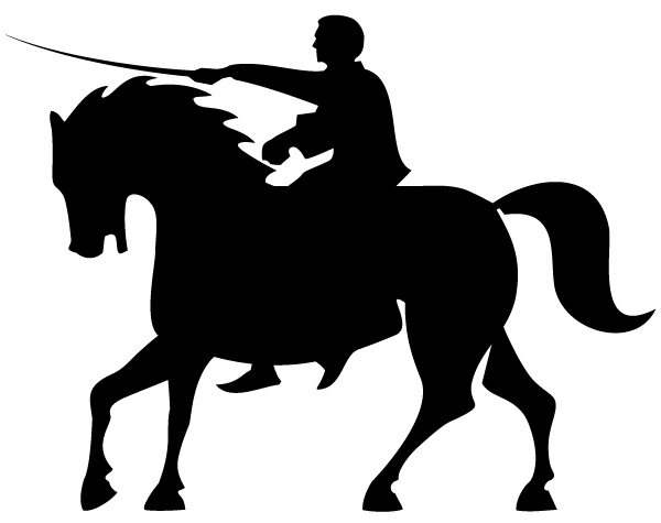 Knight clipart silhouette Vector Rider back Horse back