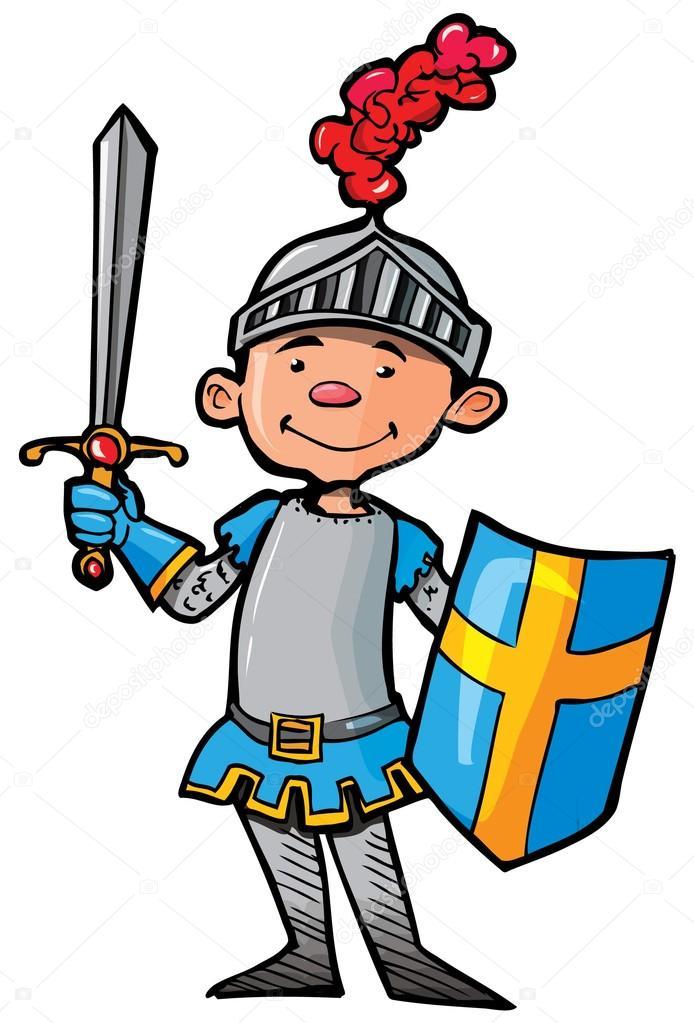Knight clipart simple cartoon © Cartoon Stock Illustration sword