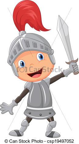 Knight clipart simple cartoon Cartoon knight boy of Vector