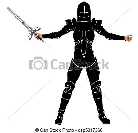 Women clipart knight  woman rendered sword knight
