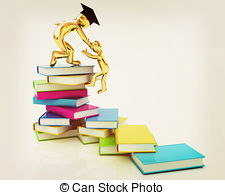 Knowledge clipart 3d person To 3D pile person books
