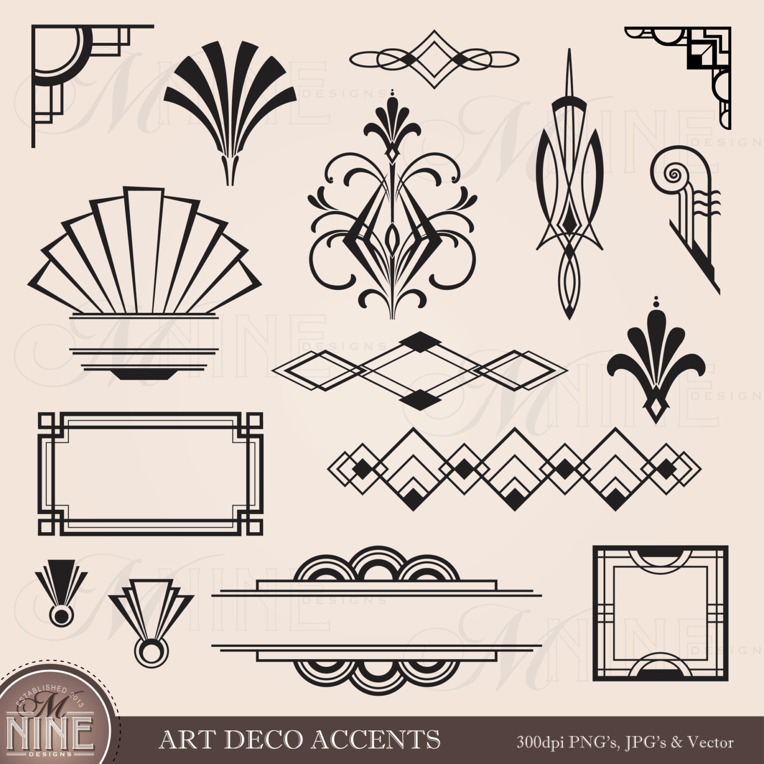 Classic clipart page accent Clipart Digital Elements Black Frames