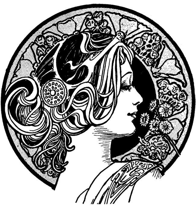 Woman clipart art nouveau Art Pin Clip 106 on