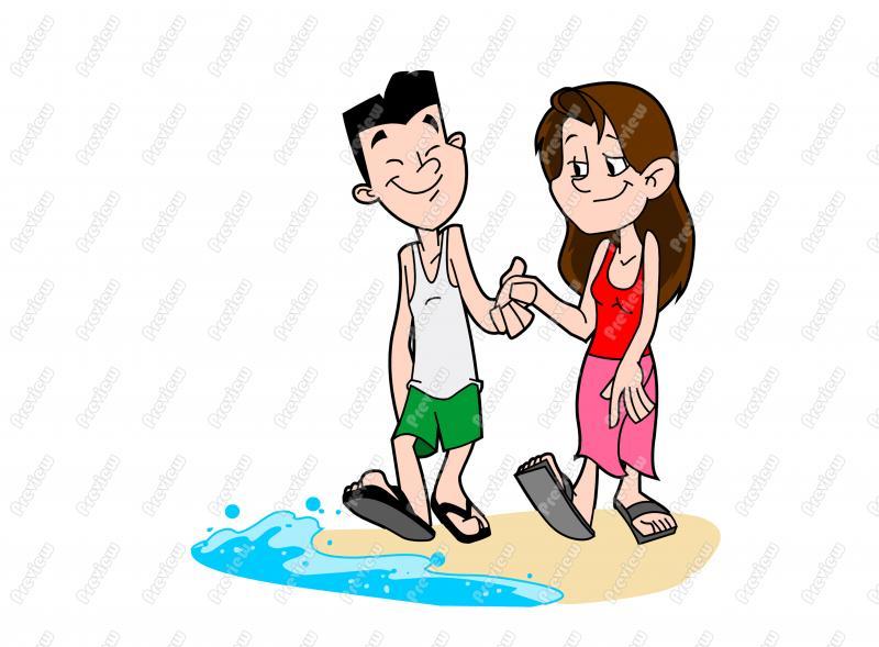 Kopel clipart beach Clip Free Couple Art Beach