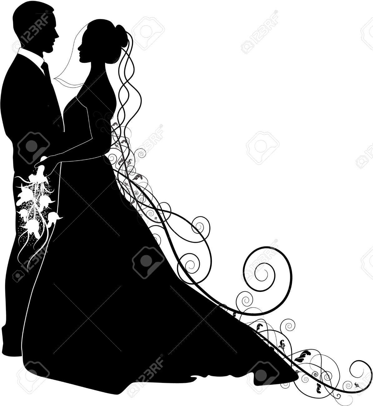 Wedding Dress clipart bride and groom silhouette Free And Stock Royalty Groom