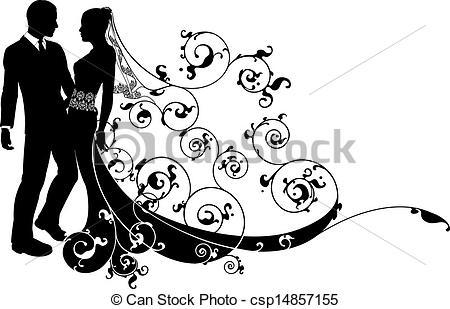 Wedding clipart logo Bride couple silhouette  wedding