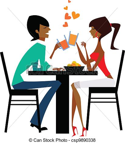 Date clipart dinner date Drinking table Couple of Vector