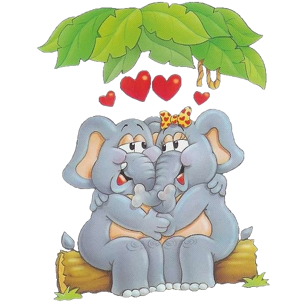 Kopel clipart elephant  Valentines Elephant Couple Pinterest