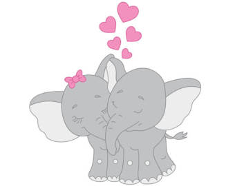 Kopel clipart elephant Couple Valentines Couples Elephant Heart