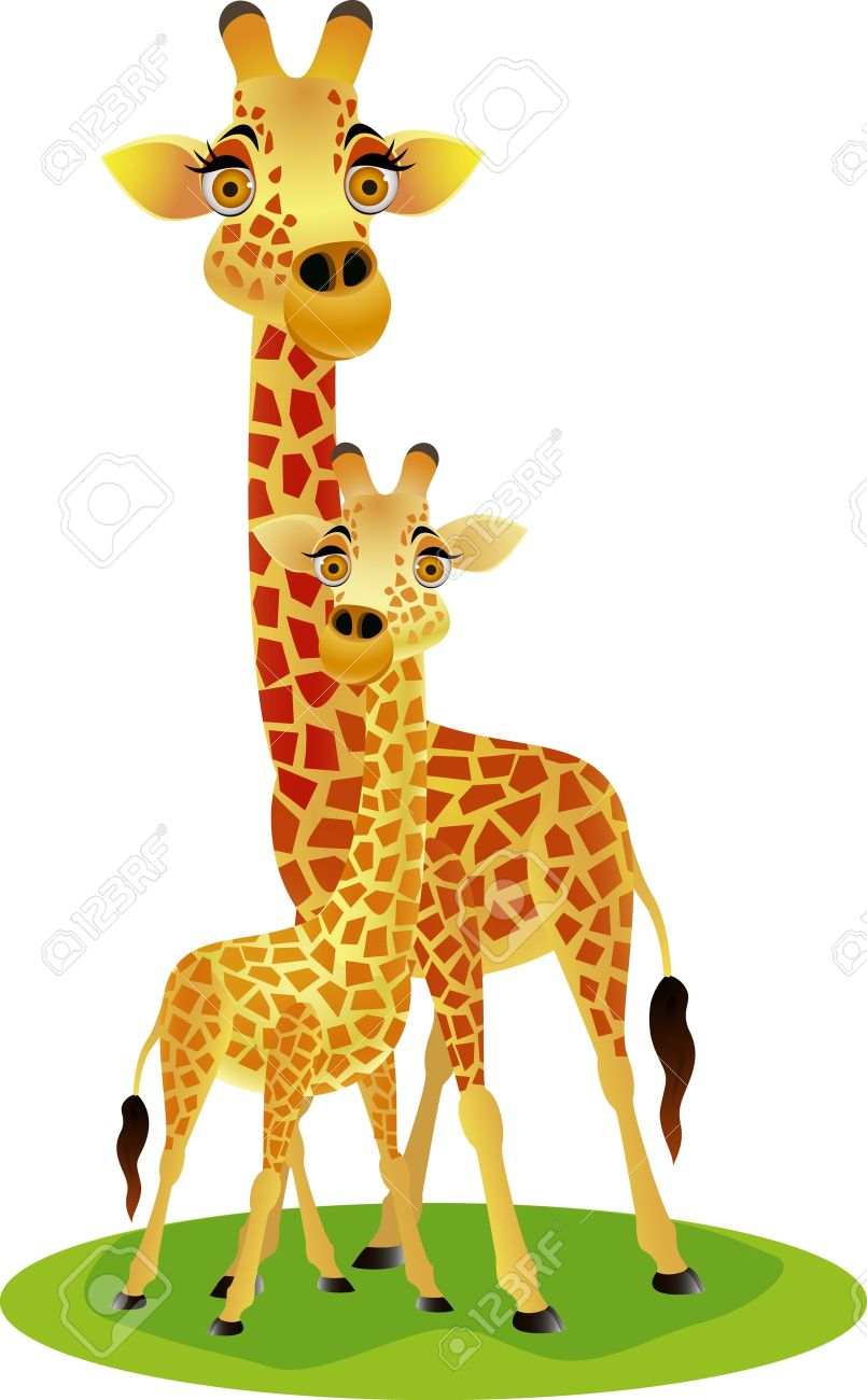 Mother And Baby clipart giraffe Art Royalty Clip Animal Clipart