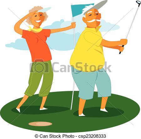 Kopel clipart golf Golf in 60s couple csp23208333