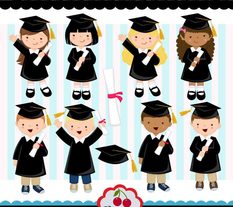 Graduation clipart colorful Preschool Preschool set(Black) College Girls