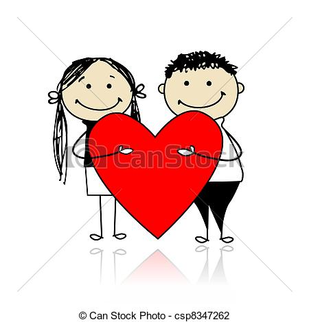 Couple clipart heart Csp8347262 heart with heart red