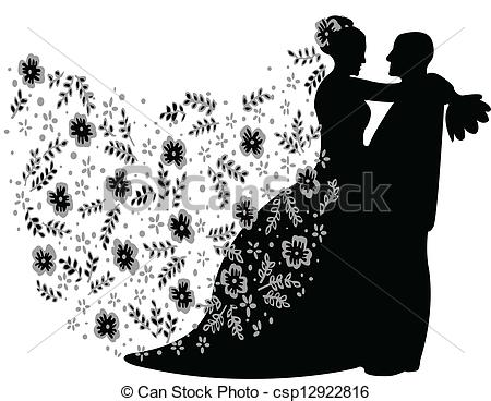 Kopel clipart just married Married silhouette vector couple Art