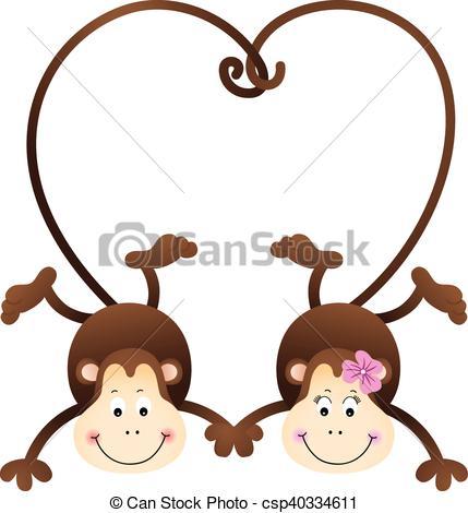 Kopel clipart monkey Scalable Vector vectorial Couple of
