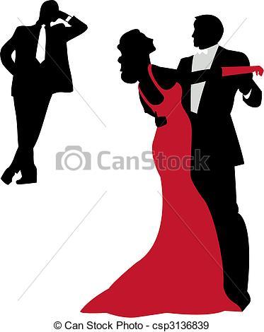 Danse clipart black tie event Vectors dancing silhouettes elegant EPS